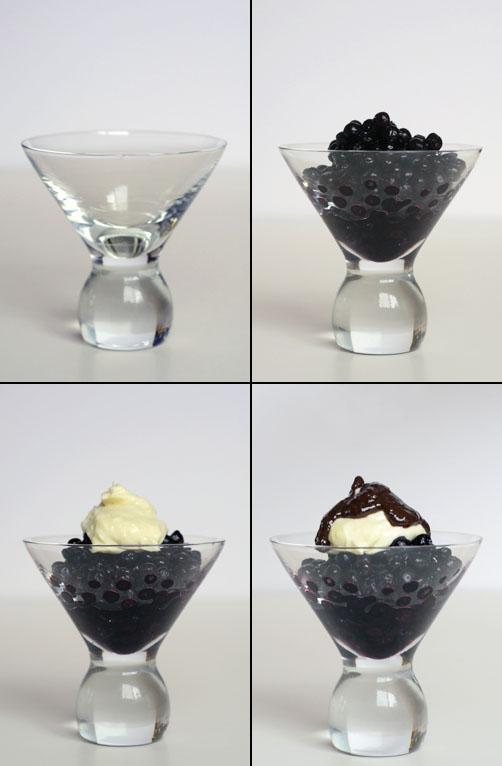 Blueberries w:chevre & Naga chile chocolate