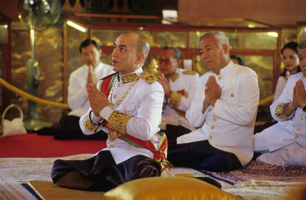 View from the coronation ceremony for Cambodian King Sihamoni in 2004.