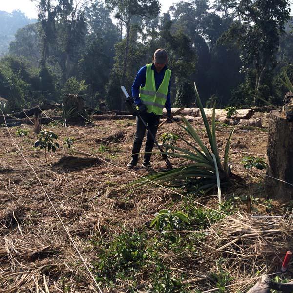 Clearance worker in field